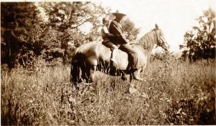 Berten Bean and Charles Karr on Horse Old Dan