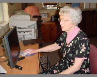 #17 Archivist Doris Montgomery at the computer